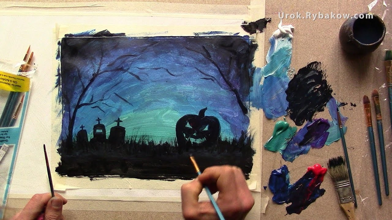 How to Draw Halloween Pictures -Video lesson How to paintHalloweenwith acrylic!