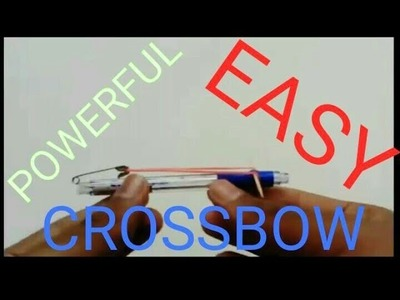 HOW TO MAKE A CROSSBOW WITH PEN THAT SHOOT ARROWS AT VERY HIGH SPEED