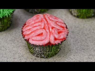 How To Make A Gooey Brain Cupcake For Halloween