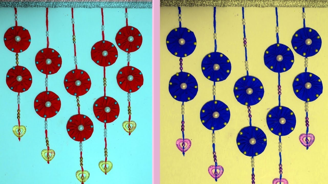 How to make decorative wall hangings with paper and waste cloth ...