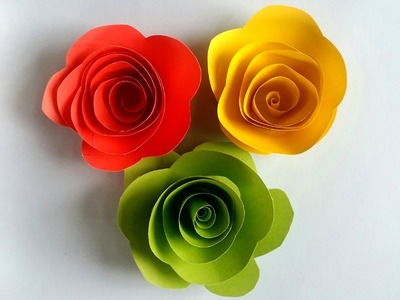 How to Make Designed  Paper Roses Very Easy!!!!