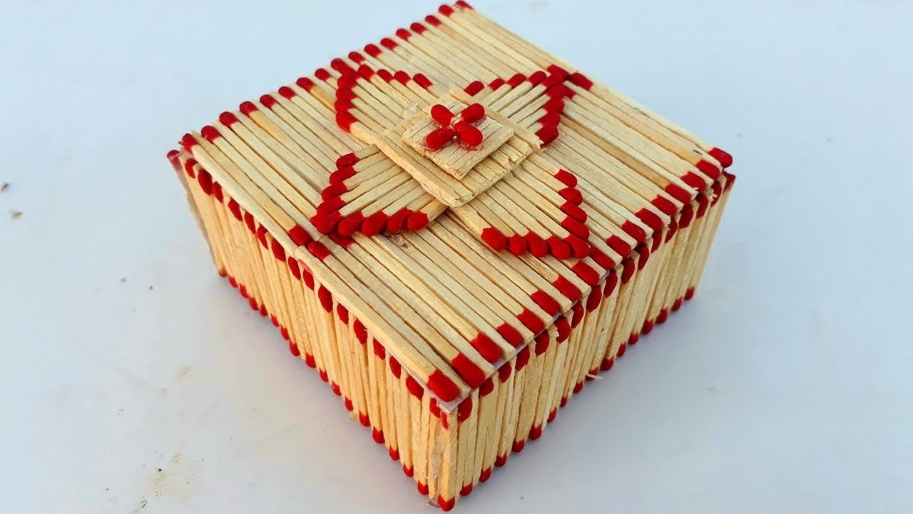 How to make matchstick jewelry boxDIY easy jewelry box making from