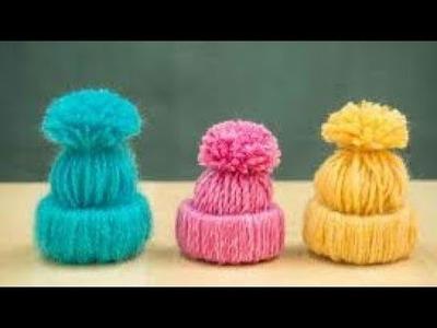 How to make mini woolen cap|cap for ladoogopal hat in hindi कान्हा की छोटी सी टोपी कैसे बनाए