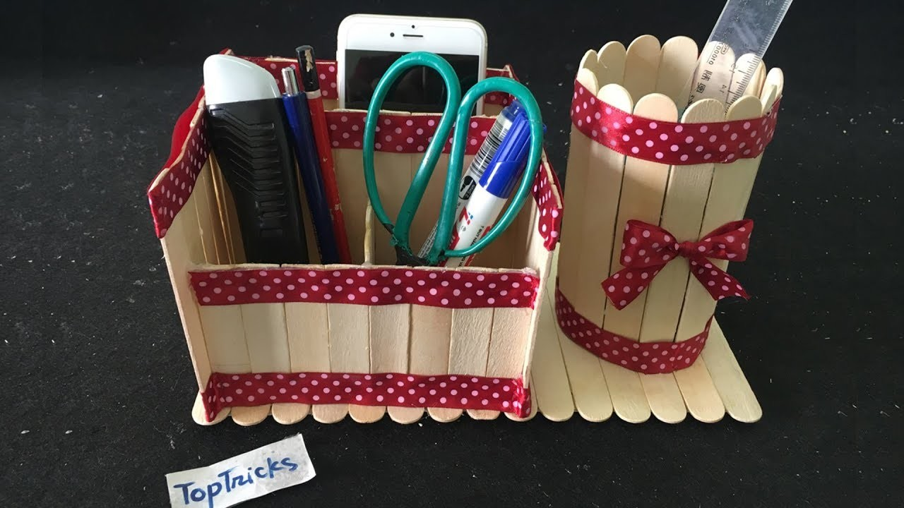 How To Make Pen Box With Ice Cream Sticks Diy Pen Stand And Mobile Phone Holder