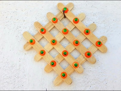 How to make wall hanging by useing old ice cram stick.easy popsicle re use craft.