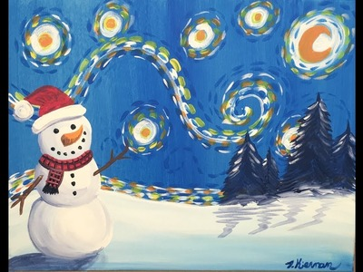 How To Paint Snowman Starry Night