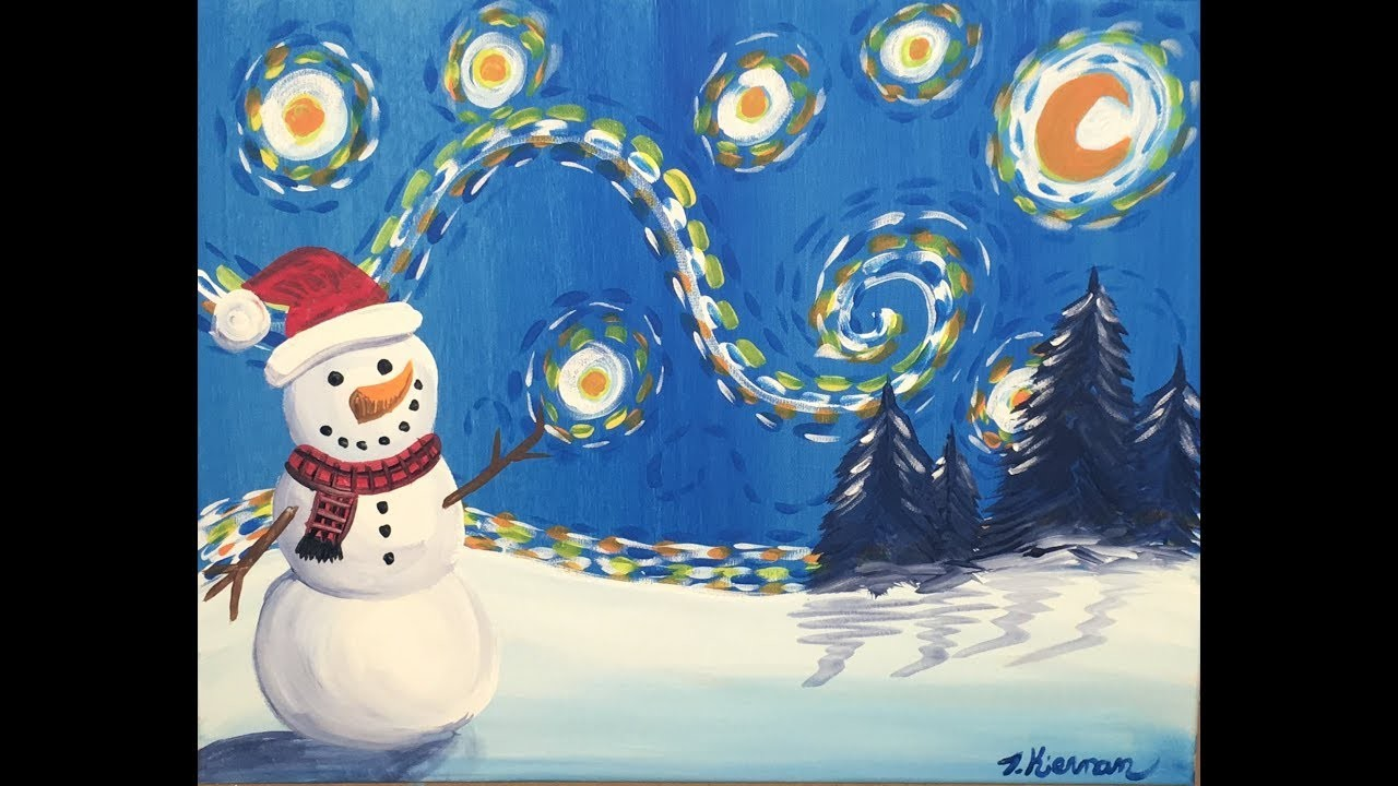 How to paint snowman starry night my crafts and diy projects for How to paint snowmen