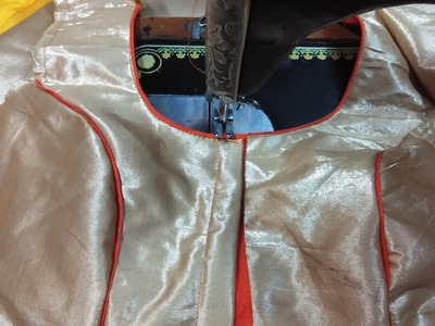 How to stitch princess cut blouse with piping