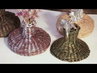 How to weave a vase. Tutorial for newcomers.