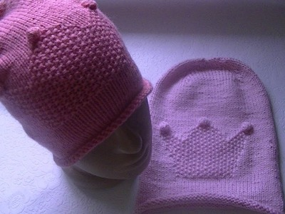Knitting a bini hat with crown pattern
