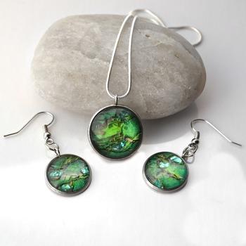 Leprechaun Loot, Green earring pendant set, womans necklaces, dangle earrings, handmade wearable art, unique jewelry, gift ideas for her