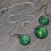 Leprechaun Loot, Green earring pendant set, womans necklaces, dangle earrings, handmade wearable art, unique jewelry, gift ideas for her