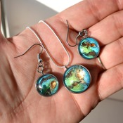 Mermaid Scales, Aqua Teal, earring pendant set, womans necklaces, dangle earrings, handmade wearable art, unique jewelry, gift ideas for her
