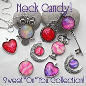 Moon Pendant, Valentines day gift idea, heart jewelry, love necklace, neck candy, handmade wearable art, Purple jewelry,  gift ideas for her