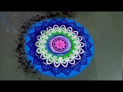 New Year Rangoli Makar Sankranti Rangoli How to draw beautiful Rangoli with stencils