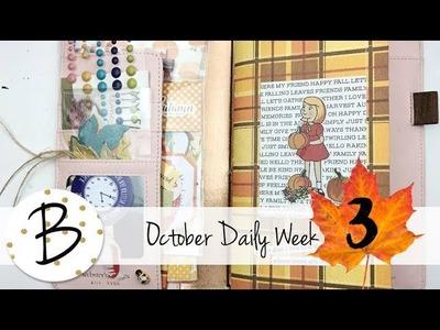 October Daily 2017 Week THREE Flip Through. Travelers Notebook. Creative Journal. Scrapbook