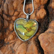 Ogre Ore, heart pendant, womans necklaces, fantasy jewelry, handmade wearable art, unique  jewelry, gift ideas for her, green brown pendant