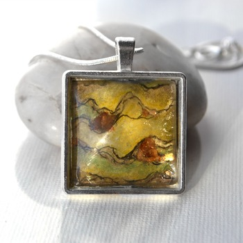 Ogre Ore, square pendant, womans necklaces, fantasy jewelry, handmade wearable art, unique jewelry, valentines gifts, earth tone pendant