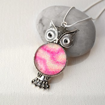 Owl Pendant, Valentines day gift idea, heart jewelry, love necklace, neck candy, handmade wearable art, pink jewelry,  gift ideas for her