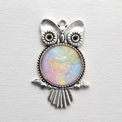 Owl Pendant, Valentines day gift idea, heart jewelry, love necklace, neck candy, handmade wearable art, pastel jewelry,  gift ideas for her