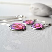 Pixie Pebbles, Pink Purple Jewelry Sets, dangle earrings, womans necklaces, unique jewelry, handmade wearable art, valentine gifts for her