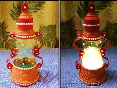 Plastic bottle lantern (also using Newspaper )   Plastic bottle craft