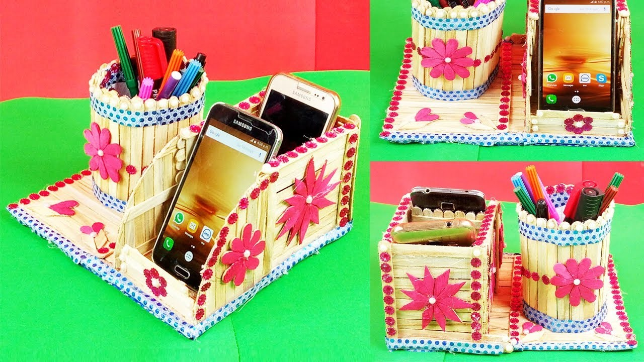 Popsicle stick crafts diy how to make pen stand and mobile for How to make popsicle stick crafts