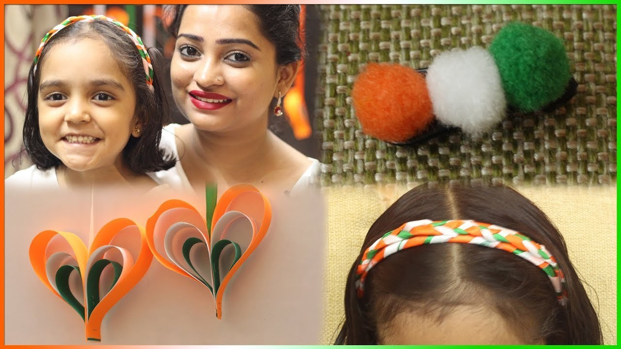 Republic Day Special Craft for Kids-Easy to Make : Tricolor Hanging Hearts, Hair Band etc.