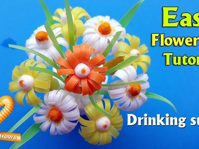 Super quick and easy flower pot tutorial-How to make beautiful daisies flowers from drinking straw