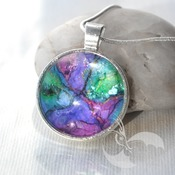 Unicorn Horn, Rainbow Glass Pendant, handmade wearable art, womnns necklaces, unique jewelry, valentines gifts for her, rainbow jewelry