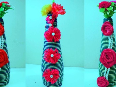 Wine bottle decorations handmade - How to decorate a wine bottle for a gift -Glass bottle craft idea