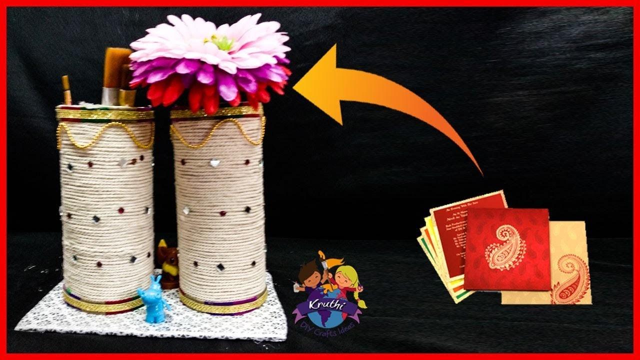 Diy Best Out Of Waste I How To Reuse Old Wedding Card I Wedding Card Pen Holder Make Flower Pot