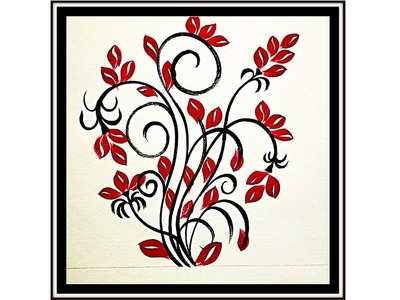 DIY : How To Make One Stroke Wall Art Design | Room Decor Ideas | One Stroke Leaves Painting