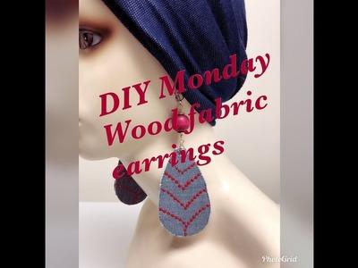 DIY MONDAY WOOD BEAD FABRIC EARRINGS
