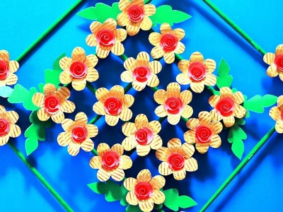 DIY. Simple Home Decor. Wall Decoration. Hanging Flower. Paper wall hanging. Wall hanging craft idea