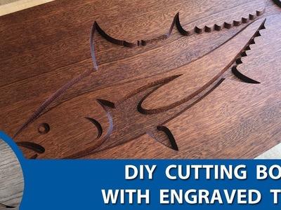 DIY Tuna Engraved Sapele and Maple Cutting Board