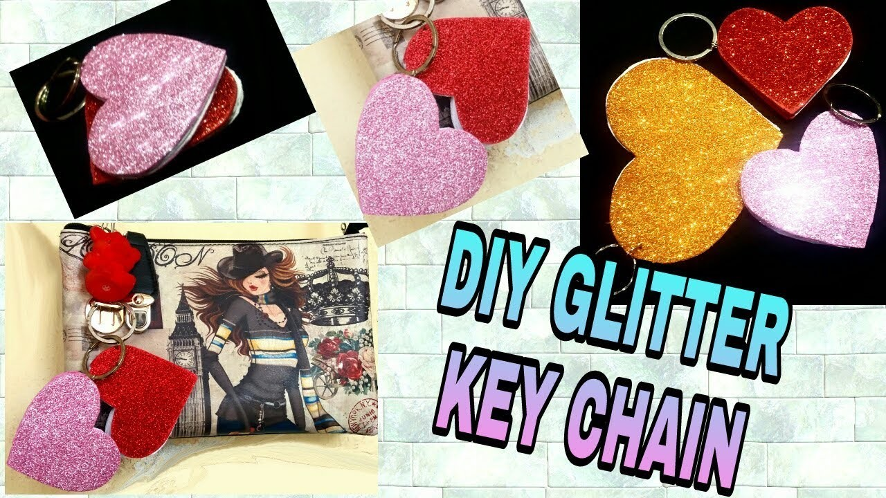 How To Make GLITTER Heart KeyChain BooK DIY #creativediaries