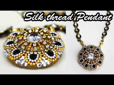 How to make silk thread pendant for mangalsutra | DIY