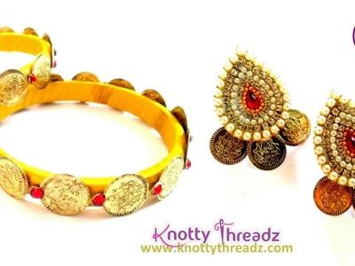 Lakshmi Kasu Bangles and Studs | Silk Thread Bangles and Paper Studs | www.knottythreadz.com