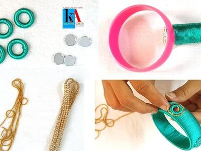 Making of Mirror Silk Thread Bangles at home || DIY Designer Kundan Bangles Set