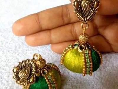 Silk Thread Jhumka.रेशम धागे बालियां.How to Make Silk Thread Earrings