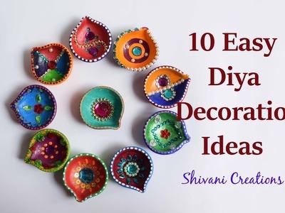 10 Easy Diya Decoration Ideas. How to decorate Diya for Diwali. DIY Earthen Lamp