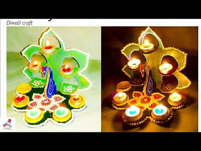 Cardboard Diya Stand | How to make diya stand from Cardboard | Diwali Special craft | DIY CraftsLane