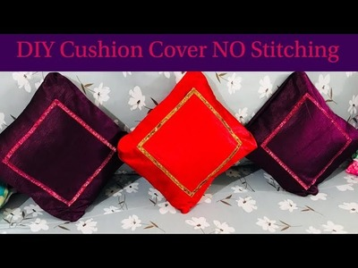 Diwali DIY 2017 | How to make Cushion Cover No Stitch | Home Decor Makeover | Reuse old Curtains