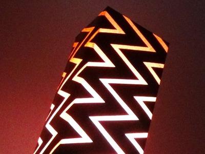 DIY Home decor - Zig Zag Lamp.Light Shade With Art Card Paper |