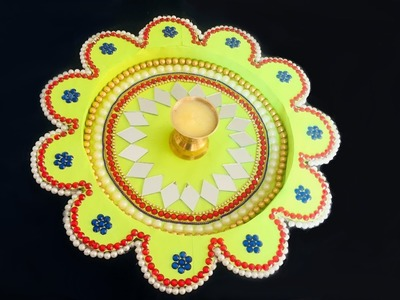 DIY- How to decorate Diwali.Laxmi pooja.aarati tray.thali.plate by cardboard and paper? Homemade.