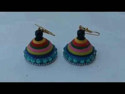 DIY Multi color jhumka.Quilling jhumka making without mould.how to make simple jhumka.Jhumka earring