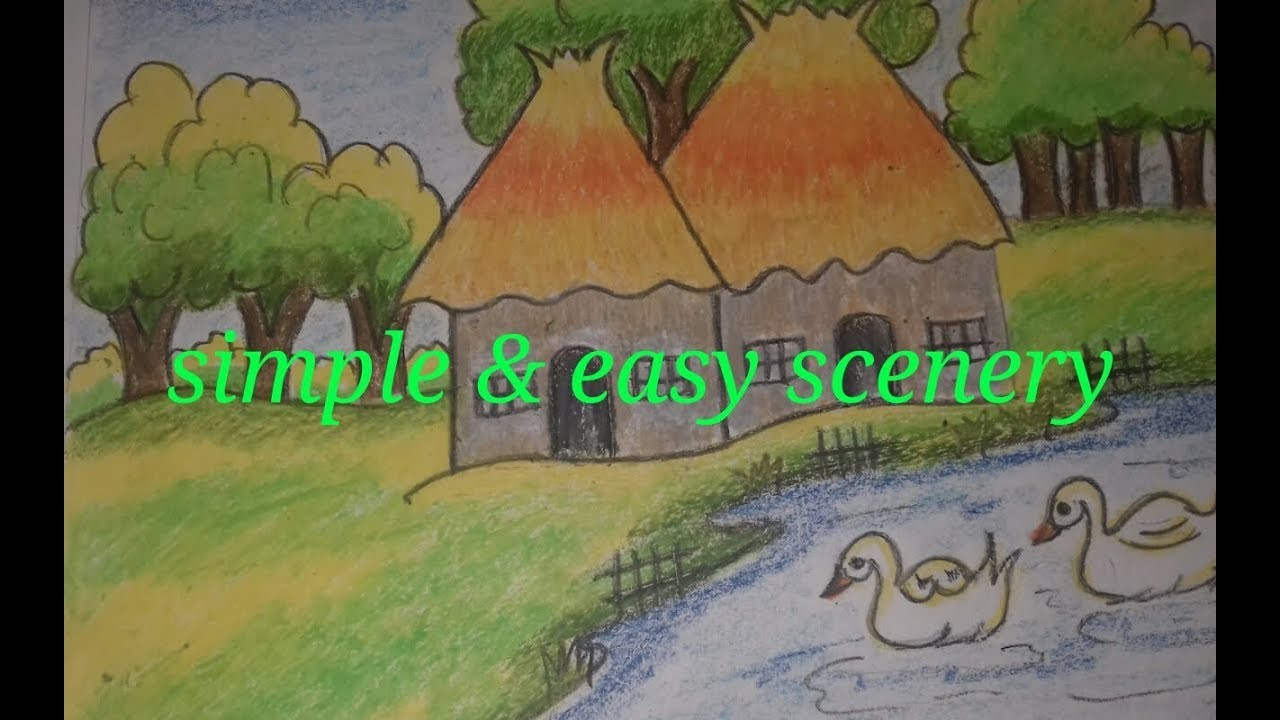 Easy Simple Drawing For Kids How To Draw Village