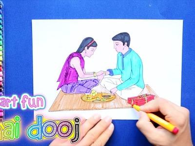 How to draw and color Bhai Dooj