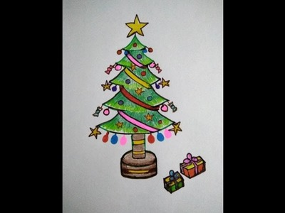 How to draw christmas tree in few easy steps